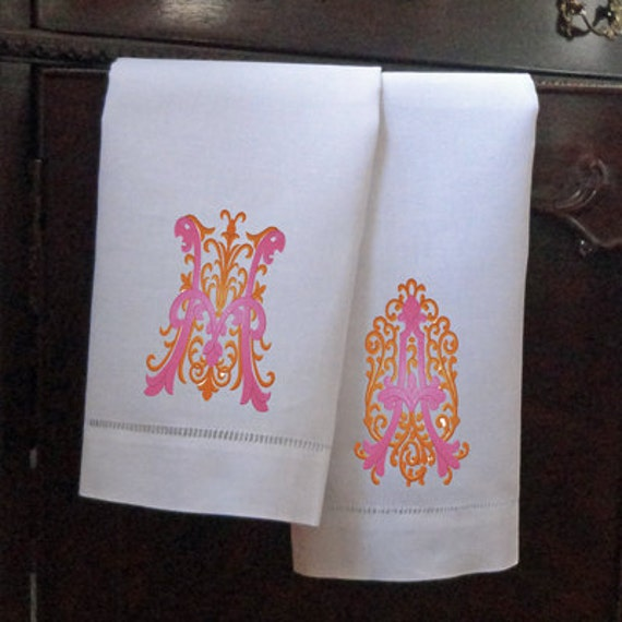Cheap Guest Towels: SET OF 2 Linen Guest Towels / Monogram Towel / By