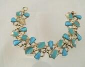 Blue Cabochon Gold Link Bracelet, Destash 1950s