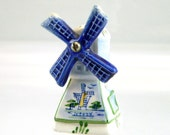 ON SALE Vintage Ceramic Windmill, Dutch Ceramics, Holland Souvenir, Windmill with Movable Sails