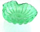 On Sale Hand Blown Swirl Bubble Glass Bowl, Green Swirl Art Glass, Hand Blown Glass Bowl, Must See