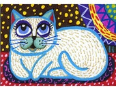 Cat Art, Folk Art , White Cat Art, Mixed Media Art, Pet Art, Whimsy, Cat Print, Kitty Print, White Folk Art Cat by Paula DiLeo