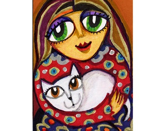 Cat Art, Whimsical Cat Art, Girl And Cat, Red And Gold,  Mixed Media Art, Girls Room Decor, Art For Girls, Kitty Love by  Paula DiLeo