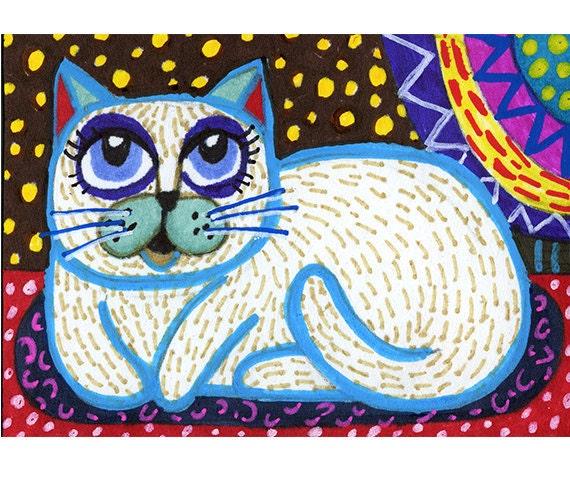 Cat Art, Folk Art , White Cat Art, Mixed Media Art, Pet Art, Whimsy, Cat Print, Kitty Print, White Folk Art Cat by Paula DiLeo