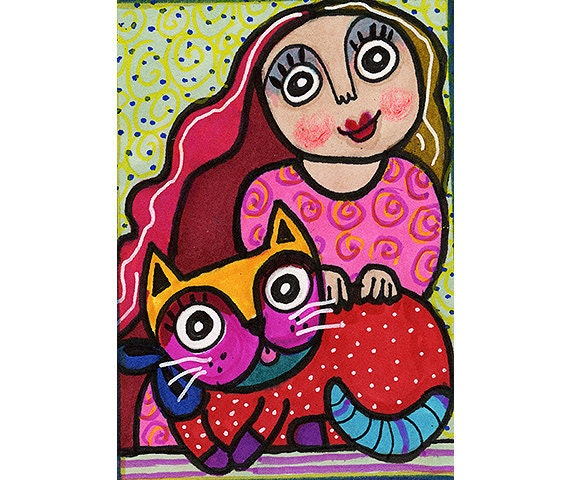 Girl And Cat ,Cat Art, Girls Bedroom Decor, Red And Pink, Funny Cat, Whimsical Art Print, Cat Print,  Prizewinning Cat by Paula DiLeo