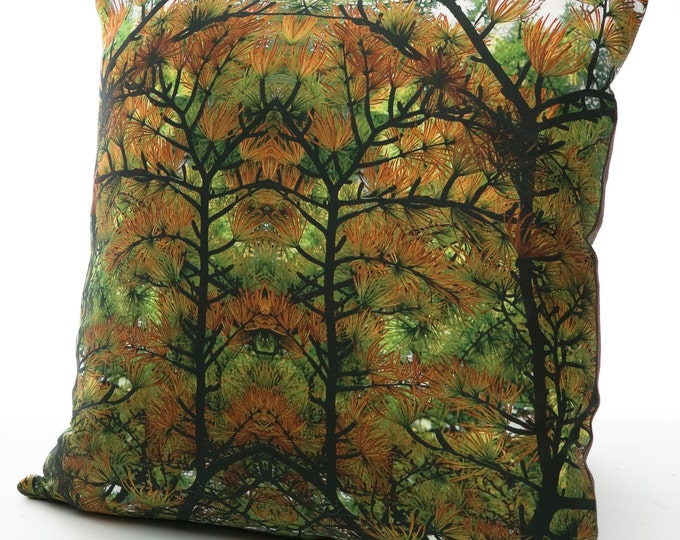"""Featured listing image: SALE! Silk 16"""" pillow / cushion cover digitally printed with a photographic tree design. Modern home accessory bringing nature inside trend"""