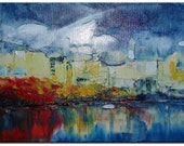 "Original Oil Painting  Harborfront  artist Tatjana Ruzin 30""x15"" palette knife textured on stretched canvas"