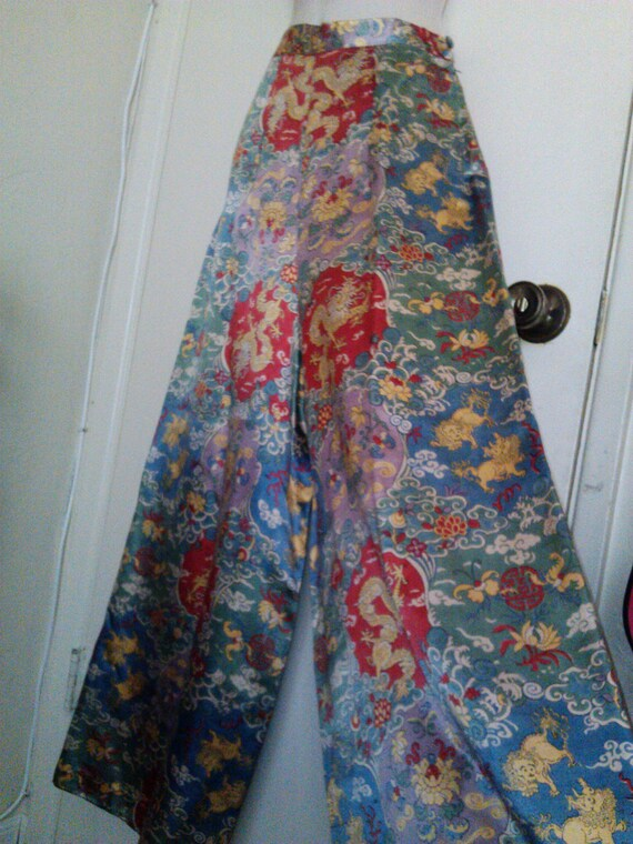 RESERVED- 1940s silk lounge pants- palazzo pants- hollywood glam- asian print- delicate