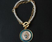 Hamsa and Evil Eye Bracelet with White Glass Pearl and Gold Chain-Blue