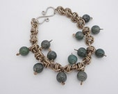Chainmaille Bracelet, Barrel Weave with Natural Moss Agate and Nickel Silver