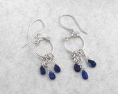 Silver Earrings with Dark Blue Kyanite Briolettes, Spirals, Hoops, 2 inch, 5 mm