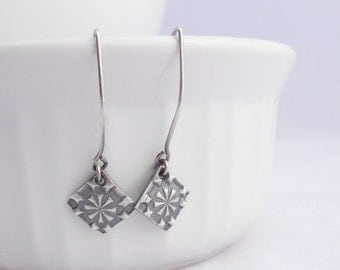 Silver Metal Clay Earrings, Diamond, Stars, Made to Order