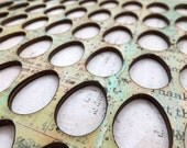 Vintage Collage Hand Painted Wood Mini Eggs Stencil Frame