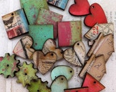 12 ASSORTED MIX of Hand Painted & Collage Art Bits and Charms