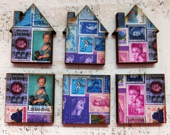 6 Mini Postage Stamps Collage Wood INCHIES & HOUSES in Blue Purple