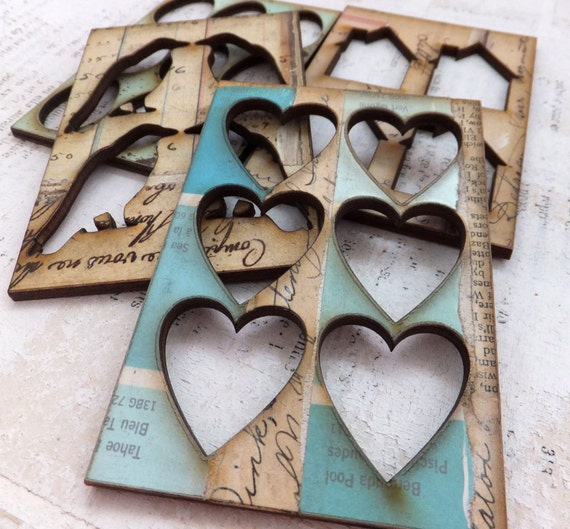 4 ATC ACEO Wood STENCILS/ Frames with Authentic Vintage Collage
