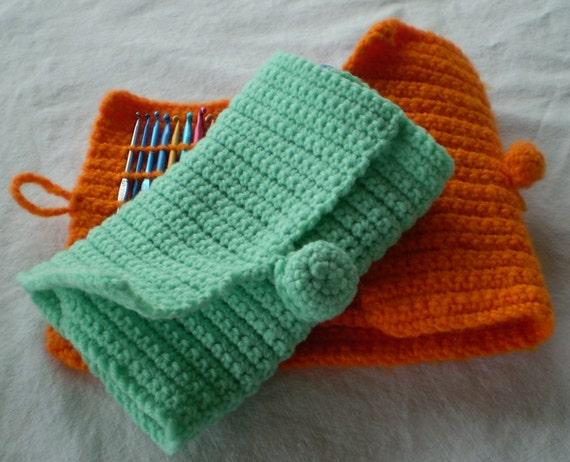 Crochet Hook Case, Organizer (Make It Simple/Travel Easy) Clutch Purse Size - Crochet Hook Organizer - Green Mint