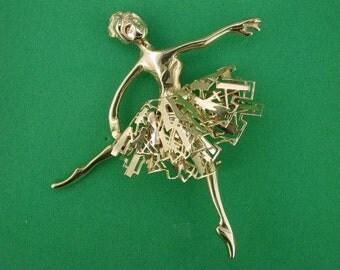 Odile Ballerina OOAK Gold engraved Brooch