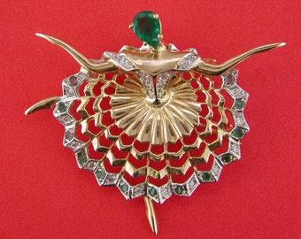 Esmeralda Ballerina OOAK Gold Diamond Emerald Brooch