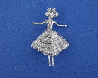 Coppelia, Act 2 white gold Ballerina brooch