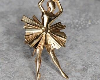 """14kt yellow gold """"Clara"""" ballerina brooch"""