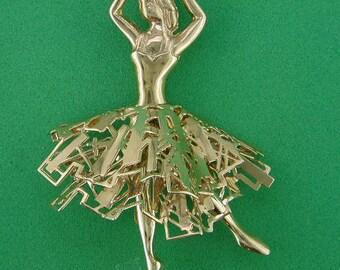Juliet Ballerina OOAK handmade designer gold brooch