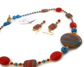 necklace earrings set unique coral turquoise beaded gift box gemstone statement chunky
