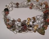 Wire crochet...Natural stones.. Rustic wedding... OOAK...Bracelet for the bride...