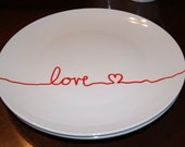 Love is in the Air..WEST ELM INSPIRED... Silver Love... Happy Valentines day... Cookie plate... Dinner Plate... Wedding Plates...