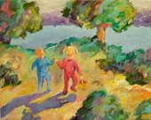 painting, children, landscape, impressionistic, lake, water, camping, colorful
