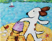 whimsical, dog painting, sandcastle, beach, childrens art - everygoodcolor
