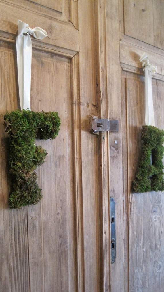 Custom Monogrammed Moss Letters of Bride and Groom by Burlap and Linen Co
