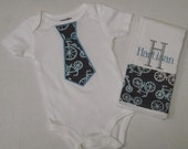 Bicycle Tricycle Burp cloth and Tie Onesie Set Personalized Great Personalized Baby Gift for Boys