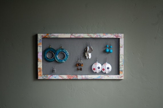 Mesh Frame Earring and Jewelry Holder/ Organizer/ Display with Decoupaged Recycled Map