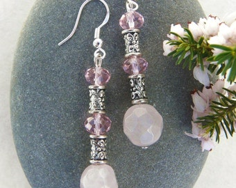 Rose Quartz and Pink Crystal Earrings Free Worldwide Shipping