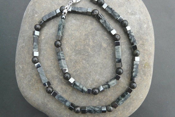 Mens Gemstone Necklace Grey Marbled Agate Hematite and Jasper Free Worldwide Shipping