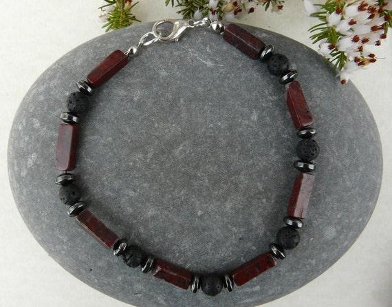 Mens Bracelet Gemstone Jasper Hematite Lava Rock Free Shipping