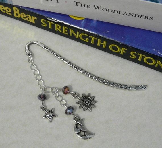 Bookmark Tibetan Silver Crystal Sun Moon Stars Free Worldwide Shipping
