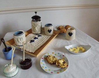 Pdf. Knitting pattern - Love and Scones Cafetiere set for Mother's day