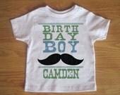 Birthday Boy - Black Mustache Custom Funny Shirt - Mustache Birthday Kids or Youth Tshirt - Childrens Clothing With Custom Name and Age