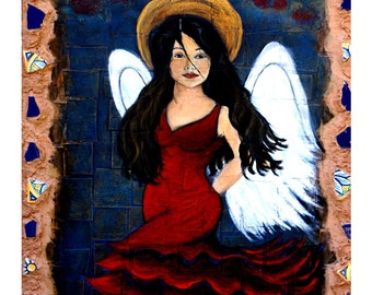 Isabella, A Spanish Earth Angel, Original Fine Art 8 by 10 Print. Earth Angel, Spanish dancer angel, Flamenco, Paso Doble,  Fandango, Spain
