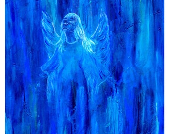 8 x 10 Blue Angel Original painting. Angel Ascending, Home Decor, Blue, Angel Soaring, Modern and Fresh Art, Original art, Angel Art