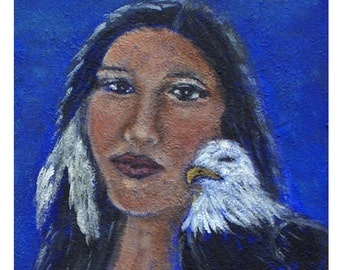 Inspirational 8 by 10 Native American Woman and Eagle Of Wisdom Motivational print of American Heritage