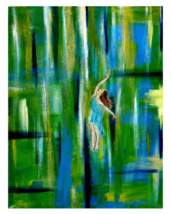 An Original Fine Art 8 by 10 Angel Print, Ascending Into Spring Without Wings, Inspirational and Motivational
