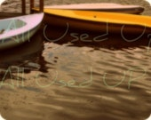 "8"" x 10"" Photograph, Yellow, pink boats, abstract water scene,"