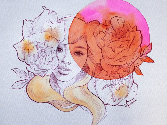 Contemporary Modern Surreal Illustration Pink Orange Peony Girl by JUURI 9x12