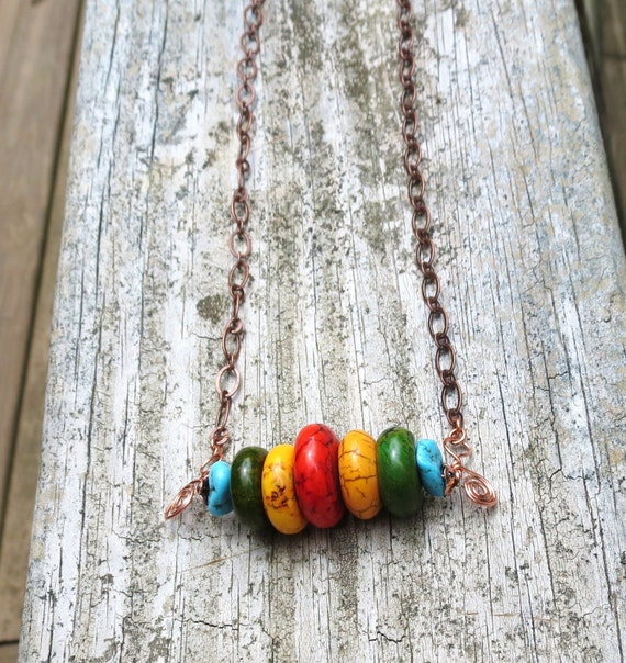 Colorful turquoise and copper bar necklace