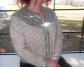 Vintage sweater from the 50s, covered in silver sequins