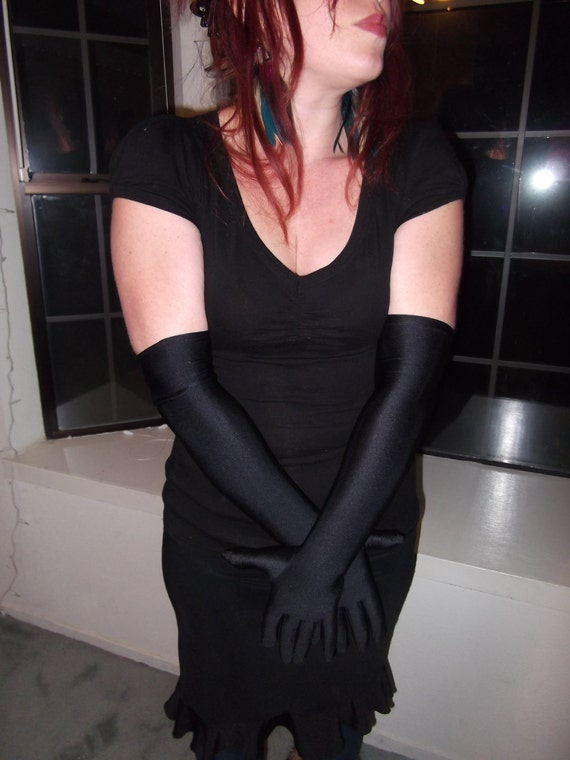 Costume black vintage gloves, above the elbow