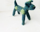 Dog wool green Needlefelted small terrier