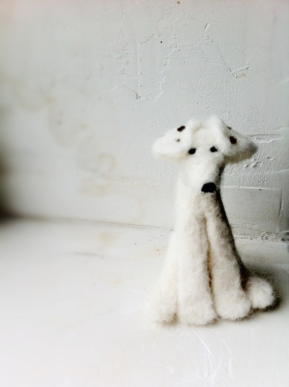 dog white needle felted small jack russell